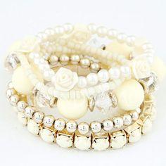 $4.43 6 PCS Cute Beads Flower Layered Bracelets For Women