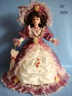 Victorian+Porcelain+Dolls | Victorian Porcelain Doll Purple and White Dress Hat and Umbrella