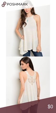 """🌸 Ivory Crochet Top 🌸 This top is too cute! The detailed back & halter neckline will complete any look. 😍 Soft fabric that's flowy & elegant. Perfect for any occasion! Loose, side-hi-low style. If you are a size Medium, you can probably fit into the Small; measurements are listed below!  🌸 86% Polyester 10% Flex 4% Spandex 🌸 Trim is 100% Cotton 🌸 Made in the US 🌸 Length: (S) 25"""" (L) 27"""" 🌸 Bust: (S) 32"""" (L) 38"""" 🌸 Waist: (S) 46"""" (L) 54"""" ❌ NO Trades 🌸 Bundle to SAVE!💸 🌸 Ships…"""