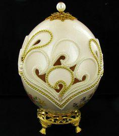 Fabrege Style Decorative Ostrich Egg Jewel Box : Lot 1240