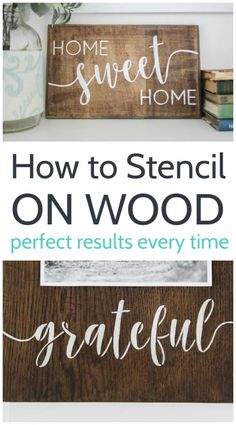 Learn how to stencil on wood without bleeding; I'm sharing my best tips and tricks for getting perfect stencil lines every time. Stencil Letters On Wood, Stencils For Wood Signs, Stencil Wood, How To Make Stencils, Diy Wood Signs, Letter Stencils, Painted Wood Signs, Stencil Diy, Stencil Painting