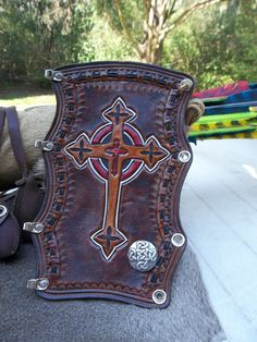 Hand Tooled Leather Bow Hunters Arm Guard by POPSLEATHERSHOP