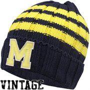 adc0f1fb1c7e adidas Michigan Wolverines Vault Cuffed Knit Beanie - Navy Blue Go Big  Blue