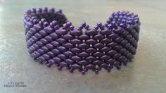 Fioletowa szeroka bransoletka z koralików #Superduo w odcieniu Metallic Suede #Lavender . #bracelet #beaded #handmade #purple #jewelry #cuffbracelet