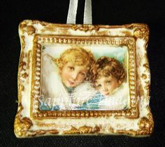 PICTURE FRAME #4 Miniature ANGELS Christmas Ornament OOAK Handmade  (seller I.D. elina133)