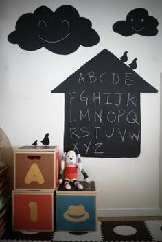 i like the idea of chalkboard paint, in a SHAPE not just a panel.... blackboard paint, in a child's room