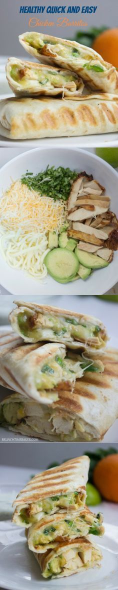 Chicken Avocado Burritos. No recipe included but the pictures speak for themselves. I used cilantro, spicy cooked chicken, spring onions, a little bit of seasoning, two types of cheese and avocado. Wrapped it up and put it in the toaster for a couple of m...
