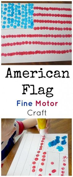 This of July flag craft with dot markers is simple, but as my preschool son said, It's funner than I thought it would be! American Flag Fine Motor Craft This of July flag craft with dot markers is simple, but as my son said, Patriotic Crafts, July Crafts, Holiday Crafts, Patriotic Party, Toddler Art Projects, Toddler Crafts, Crafts Toddlers, Children Crafts, Independance Day