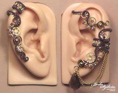 Royal steampunk ear wrap and cartilage EAR CUFF SET - purple and brass ear cuff…
