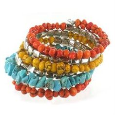 Suzie Blue Multi Colour Beaded Nugget Spiral Bracelet £15.00 (inc VAT) Product code: 778 A gorgeous spiral wrap bracelet in orange, turquoise and silver nugget beads from Suzie Blue - perfect for summer. from www.melburygallery.co.uk/shop/jewellery/ xx