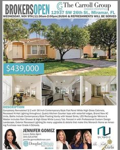Brokers & Lenders please Join us TODAY from 11:30am-2:00pm for Sushi  & Refreshments at 12937 SW 26th St. Miramar. This Modern 3bed/2bath home is offered at $439000. Hosted by: @TheTitleGirls @NuWorldTitle . jennifer@thechadcarrollgroup.com (305) 525-6769  http://www.jennysellsmiami.com . . . #JennySellsMiami #TheCarrollGroup #DouglasElliman #EllimanSFL #RealtorJenniferGomez - http://facebook.com/rlwonderland