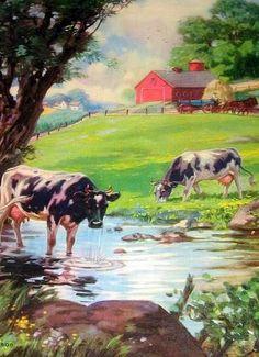 Henry Hintermeister – - Hayvan Resimleri - Farm Scene With Cows - Farm Paintings, Animal Paintings, Farm Pictures, Farm Images, Arte Country, Farm Art, Cow Painting, Cow Art, Country Scenes