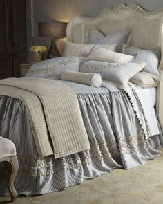 """Cascata"" Bed Linens at Horchow.  Love the style with the double gathered ruffle.  Great idea."