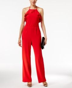 Eci Ruffled Wide-Leg Jumpsuit - Red 18