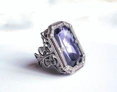 Gothic Ring Large Swarovski Tanzanite Statement Ring - More Colors - Victorian Gothic Jewelry