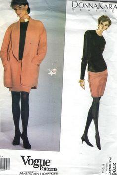 Vintage 1990s Vogue Sewing Pattern 2796- American Designer Donna Karan Dress & Jacket size 8-10-12 uncut
