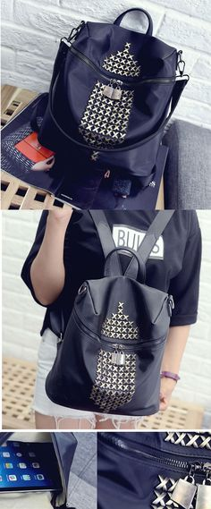 Fashion Waterproof Oxford Cloth Rivet Leisure Travel Backpack Schoolbag only…