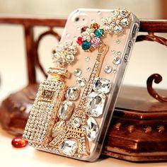 Bling Sparkle Eiffel Tower Perfume Bottle Flowers iPhone 4/4S Case