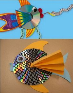13 kid-friendly crafts using recyclables Rainbow fish craft? with recycled cd's! Would do this double-sided and hang them from the ceiling to catch the sunlight. The post 13 kid-friendly crafts using recyclables appeared first on Knutselen ideeën. Kids Crafts, Summer Crafts, Projects For Kids, Art Projects, Arts And Crafts, Recycled Crafts For Kids, Crafts With Cds, Easy Crafts, Kids Diy