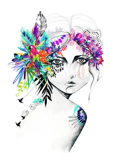 Exotic Girl II // A3 Limited Edition Giclée print by hollysharpe, £30.00