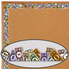 Use Monopoly money as bulletin board border : great for fundraising promo Turkey Plunge Bulletin Board Borders, Library Bulletin Boards, Bulletin Board Display, Display Boards, Display Ideas, Classroom Displays, Classroom Themes, Classroom Organization, Maths Display