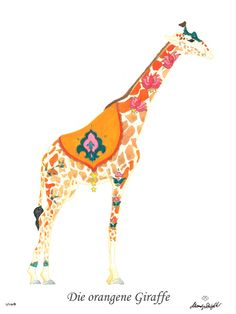 Die orangene Giraffe / The orange giraffe CHF 80,00 28 x 35 cm (18 x 24 cm without passepartout)  www.alexadenauer.com