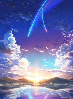 Anime landscape background new 379 best anime scenery wallpaper Wallpaper Sky, Kimi No Na Wa Wallpaper, Anime Scenery Wallpaper, Cool Anime Backgrounds, Unique Wallpaper, Kawaii Wallpaper, Fantasy World, Fantasy Art, Anime Fantasy