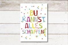 """Plakat """"Alles Schaffen"""" für das Kinderzimmer / artprint """"you can do everything"""", motivation by Ohkimiko via DaWanda.com"""