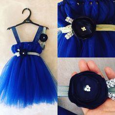 Marine Blue Tulle dress satin flower handmade girl outfit