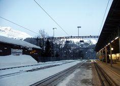 The Train station in Wengen, Switzerland Wengen Switzerland, Seize The Days, Train Station, Luxury Travel, Adventure Travel, Trains, Around The Worlds, Europe, Outdoor