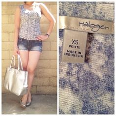 {Halogen} Sleeveless Top Excellent condition, worn once. Size XS, but can fit small. Made in Indonesia.   ❌ No Trades/Paypal  ❌No Lowballs ✅ Bundle discounts ✅Ship same or next day  💯 Authentic Halogen Tops