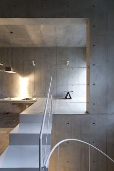 Kitchen of KAP rental housings - design Komada architects office Beton Design, Concrete Design, Concrete Stairs, Interior Architecture, Interior And Exterior, Installation Architecture, Building Architecture, Escalier Design, Concrete Interiors