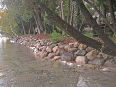 rock wall along lakefront