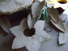 cement water feature made using burdock leaves.