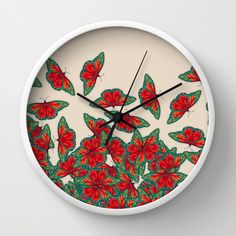 Ruby & Emerald Butterfly Dance - red, teal & green butterflies on cream Wall Clock by Perrin Le Feuvre - $30.00