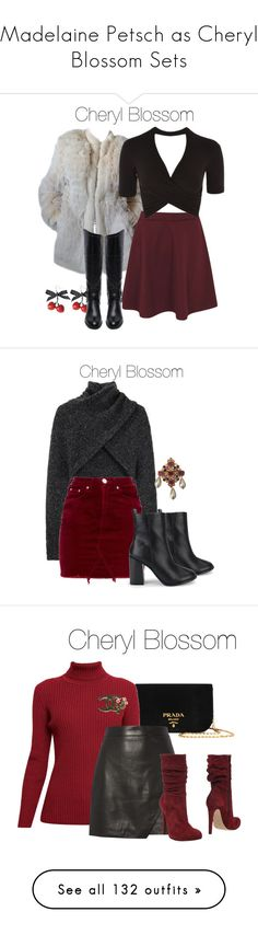"""Madelaine Petsch as Cheryl Blossom Sets"" by demiwitch-of-mischief ❤ liked on Polyvore featuring riverdale, cherylblossom, Yves Saint Laurent, Boohoo, Topshop, Circus by Sam Edelman, Alexander Wang, Chanel, Prada and Rumour London"