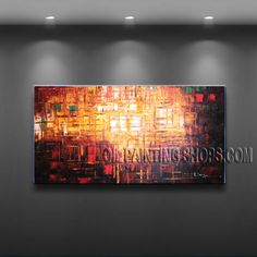 Primitive Original Impressionist Palette Knife Artist Oil Painting Stretched Ready To Hang Abstract. This 1 panel canvas wall art is hand painted by A.Leong, instock - $185. To see more, visit OilPaintingShops.com