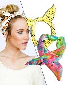 Scunci floral Print Bun Wrap, $3.99 American Apparel Printed Coton Twist Scarf, $14 Three Bird Nest Dolly Bow Head Wrap, $18