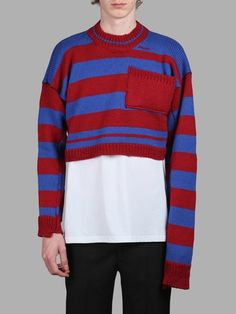 RAF SIMONS Raf Simons Men'S Red And Blue Striped Sweater ...