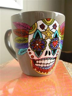 Colourful Sugar Skull, day of the dead hand painted mug