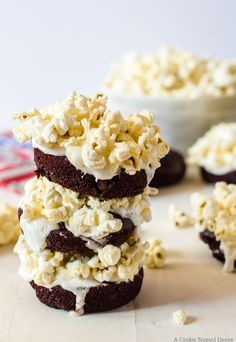 rich red velvet doughnuts with marshmallow and popcorn