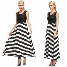 Stylish Lady Women's Sexy Sleeveless Striped Pattern Lace Chiffon Patchwork Party Long Beach Dress