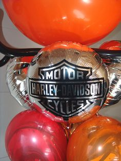 We printed these for a local Harley dealership's birthday. We can put your logo on most any kind of balloon. Happy Birthday Harley, Birthday Cheers, 40th Birthday Parties, Birthday Greetings, Birthday Wishes, 70th Birthday, Birthday Ideas, Motorcycle Birthday Cakes, Motorcycle Party