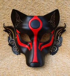 MADE TO ORDER Okami Wolf Mask... masquerade Japanese by Merimask