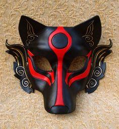 HECHO a la máscara de lobo de Okami orden... masquerade japonés de cuero cosplay de hombre ardiente máscara disfraz carnaval halloween