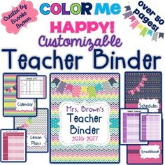 ***NOW UPDATED FOR 2016-2017!!!******Now includes a TWO PAGE CALENDAR SPREAD, CUSTOMIZABLE LESSON PLAN TEMPLATES IN 5 POWERPOINT FORMATS, and Write and Wipe DASHBOARDS!!!***This colorful, comprehensive teacher binder is entirely EDITABLE and contains everything you need to keep organized this school year!Over 60 pages of materials including:Pages 3-4: Teacher Binder Cover OptionsPages: 5-6: Binder Tabs (Editable)Pages  7-19: Monthly Calendar Cover Page and GridsPages 20-22: Schedules Cover…
