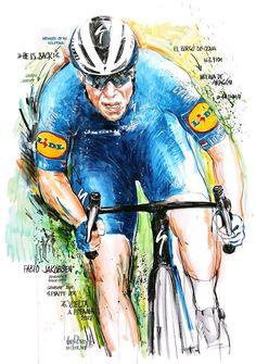"""""""HE IS BACK!"""" Fabio Jakobsen, Deceuninck Quick Step, gewinnt die 4. Etappe der 76. Vuelta a Espana 2021 (100x70cm) Cycling Art, Joker, Fictional Characters, Road Cycling, The Joker, Fantasy Characters, Jokers, Comedians, Bike Art"""