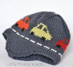 Little Pickle Knits Collection by Linda Whaley. Knit this 'Little Cars' Aviator hat to keep your little one cosy and warm. A fun hat that little boys will love to wear. The cars drive right around the hat.... Brrmm Brrmm!  This Intarsia hat is knitted with Debbie Bliss Baby Cashmerino on 3.25mm (US#3) needles. You can also use Bergere de Fance Caline and other 4ply or US sport weight yarns.This easy to read pattern has separate detailed instructions for each size. Just select and prin...
