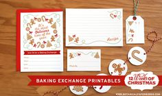 Free printable baking exchange printables! Includes an adorable invite, recipe cards, made by markers, gift tags and decorative garland - enjoy #12WeeksofChristmas