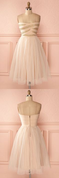 strapless homecoming dresses, chic a-line fashion dresses, light pink dresses.